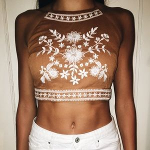 Charlotte Russe Tan Halter Crop Top